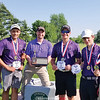 Matthew Cole, Nigel Snyder, Coach Leo Stermole, Parker Watson, Ben Cole and Noah Wilkinson pose for a photo after winning the sectional golf title for Hammondsport. PHOTO PROVIDED