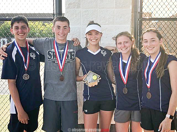 Dylan Morse, Clint Craven, Ali LaMoreaux, Hannah Morse and Jill Cantieni have a photo taken after the IAC tennis championship last week. PHOTO PROVIDED