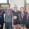 Dylan Morse, Clint Craven, Ali LaMoreaux, Hannah Morse and Jill Cantieni have a photo taken after the IAC tennis championship last week. PHOTO PROVIDED