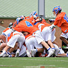 Penn Yan players celebrate their overtime win against Akron, Saturday. Photo by: Dusty Blumbergs