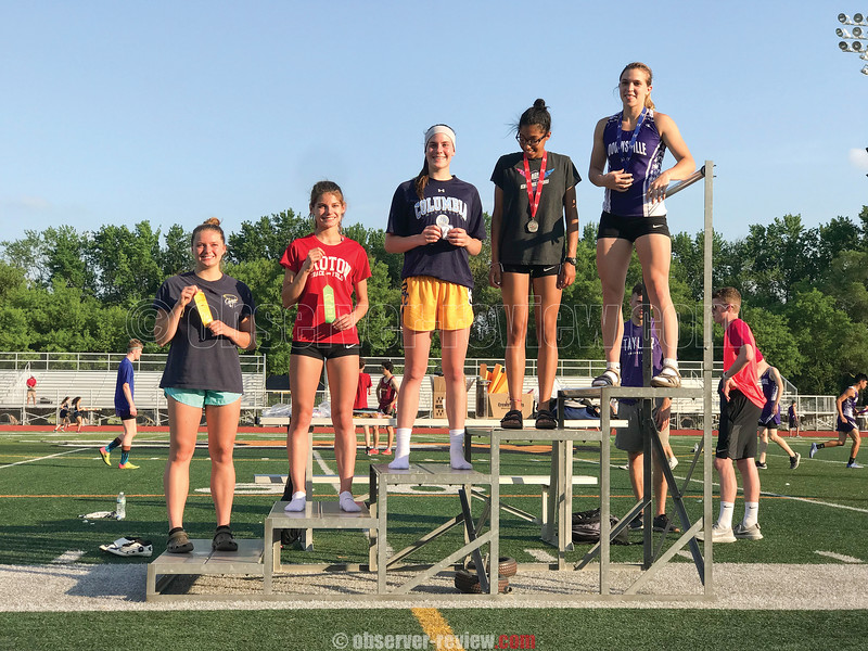 Isobel Scheffey (left) on the podium for Watkins Glen at the state qualifier meet. PHOTO PROVIDED