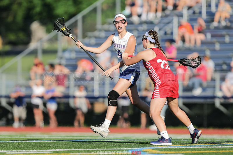 Elissa Callaway moves the ball for the Lady Mustangs Tuesday, May 29. The girls fell 12-6 to Pal-Mac.  Photo: Christopher Cecere