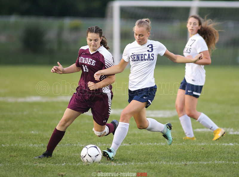 Danielle Leszyk positions to kick the ball downfield, Thursday, Sept. 6.