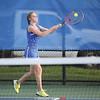 Claire Pullen returns a serve against Newark, Thursday, Sept. 13.