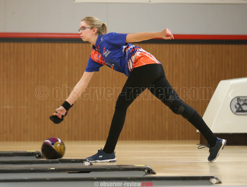 Emilie Thomas releases the ball in the Monday afternoon match.