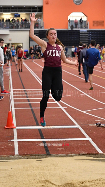 Lily Hall jumps for Dundee at the Rochester Institute of Technology, Saturday, Jan. 26.