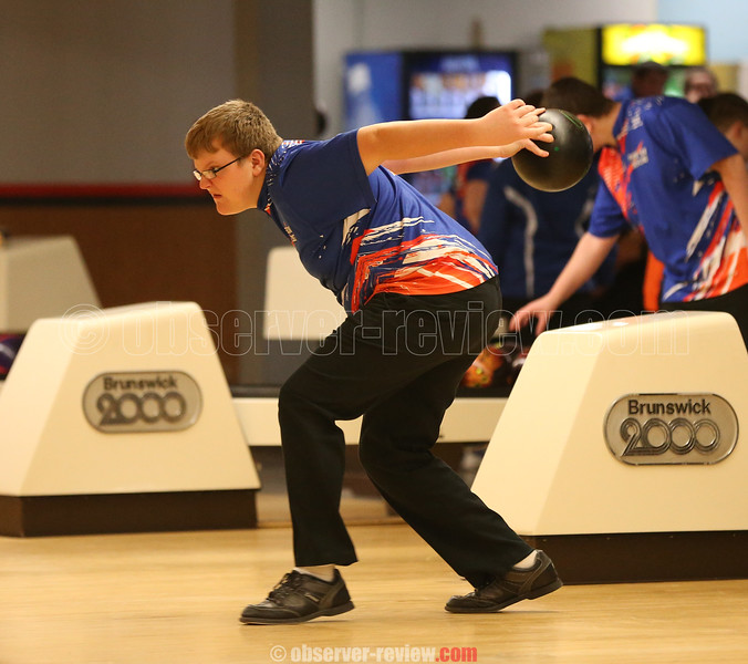 Cameron Bassage prepares to roll the ball for the Mustangs, Monday, Jan. 28 at Penn Yan.
