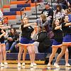 The Penn Yan cheerleading squad leads a cheer for Penn Yan during the contest last Friday. Penn Yan fell to Newark, 63-33.