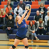 Kaleigh Hight sets the ball in the first game of the contest last week.