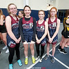 The Watkins relay team of Kelsey Demillo, Haley Dean, Madelyn Suddaby, and Breanna Carl pose for a photo at Ithaca. PROVIDED