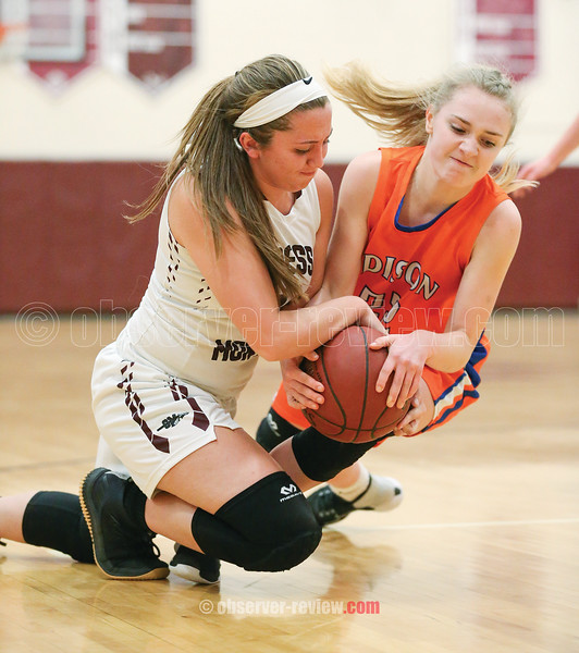 Olivia Grover goes to the ground causing a jump ball, Friday, Feb. 8.