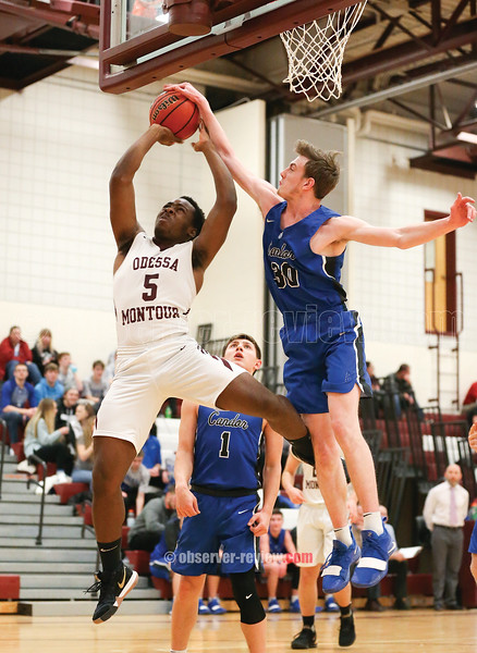 Deshawn Johnson shoots under the boards for Odessa last week.