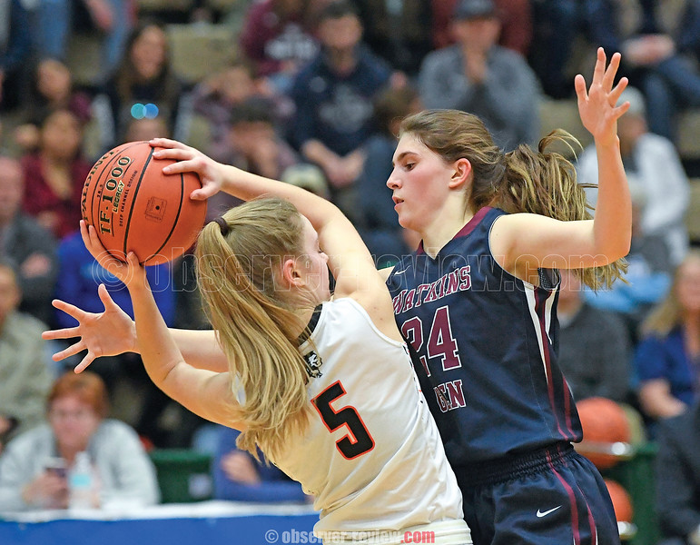 Watkins Glen's Taylor Kelly (24) defends against Cambridge's Stasia Epler (5) in the Class C championship game. (Photo Hans Pennink)