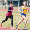 Hannah Bruno runs in a relay event, Saturday, April 6.