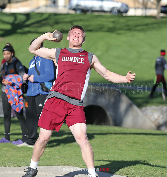 Preston Cole throws the shot put for Dundee, Wednesday, April 24.