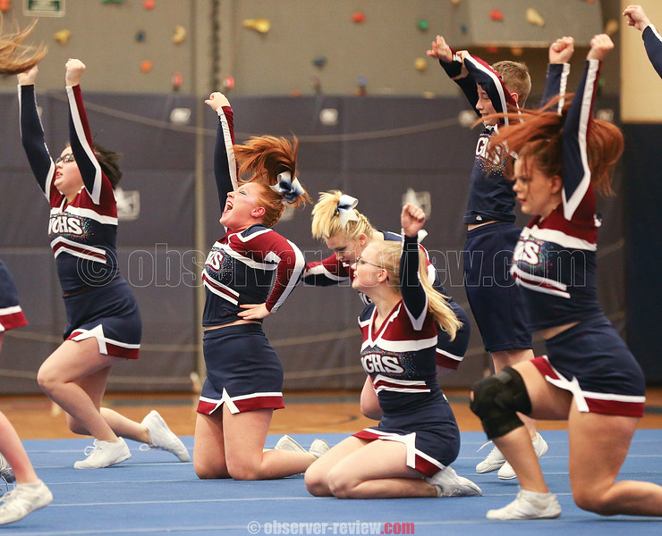 The Watkins Glen cheerleading squad competes at Penn Yan last Saturday.
