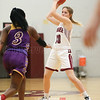 Ally Wood passes to a teammate in the Monday game.