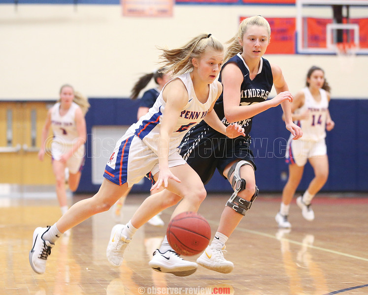 Hayley Andersen drives to the basket in the game against Mynderse, Saturday, Feb. 8.