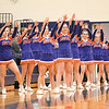 The Penn Yan cheerleading squad encourages the team as a player shoots a free throw last week.