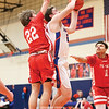 Kyle Berna goes to the basket in the game against Pal-Mac, Tuesday, Feb. 18.