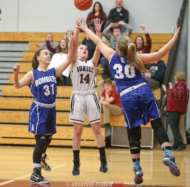 Emily Oughterson shoots for Dundee in the game against Bloomfield last week.