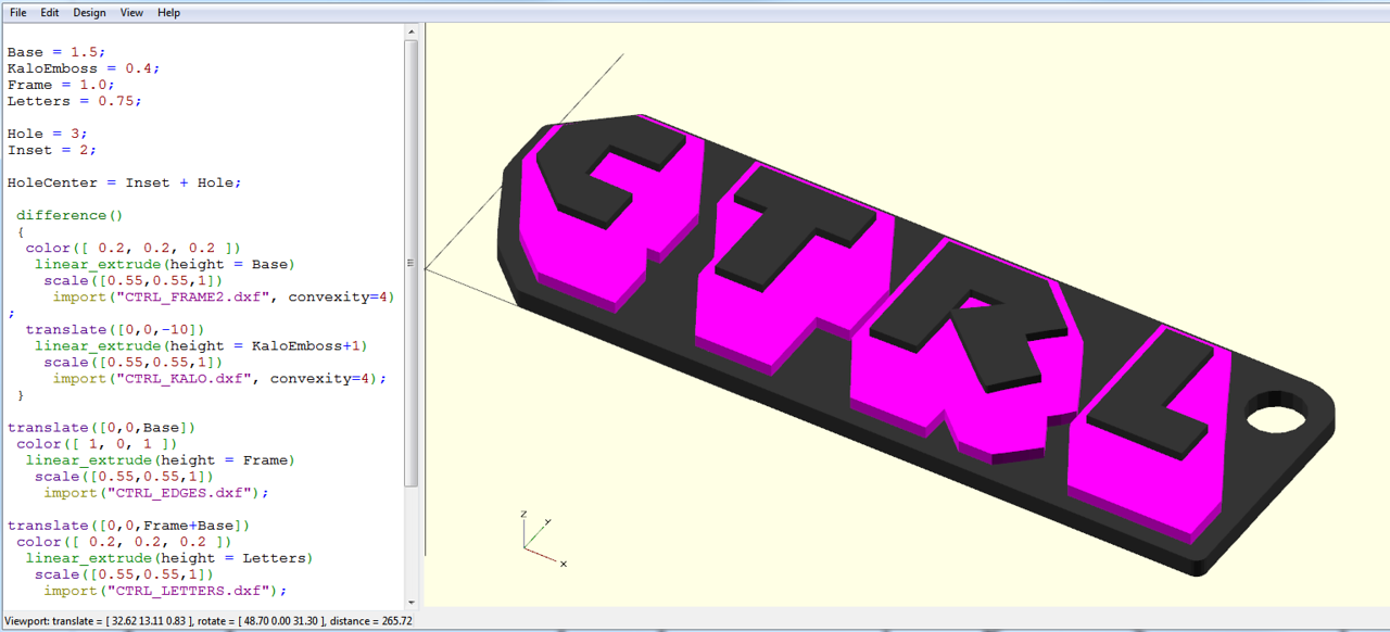 Using OpenSCAD, with its own scripting language, an SCAD compilation file is created which pulls in these vectored polygons and extrudes them to configurable depth, resulting in a to-scale viewable model of the key ring. This file can be exported as a closed-form tessellated 3d polygon file (STL).