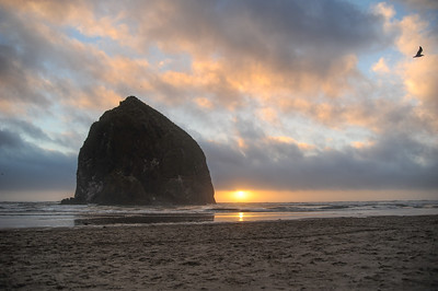 Sunset over Haystack Rock, Cannon Beach Oregon