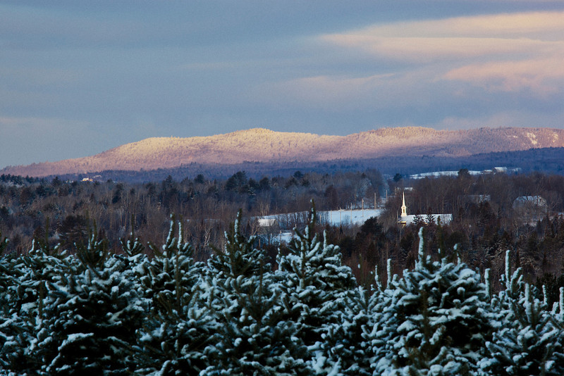 Early morning light on a crisp winter day in Piscataquis County, Maine. I teach just below those hills in the distance.