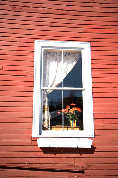 I found this window in Belfast, Maine and thought it looked quintessential New England. I am not sure if the flowers were real or not.<br /> Photo by,<br /> Daniel Straine