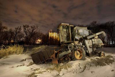 Old Combine at Night