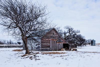 Old Kansas Barn in the Snow