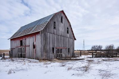 Large Kansas Barn in the Snow