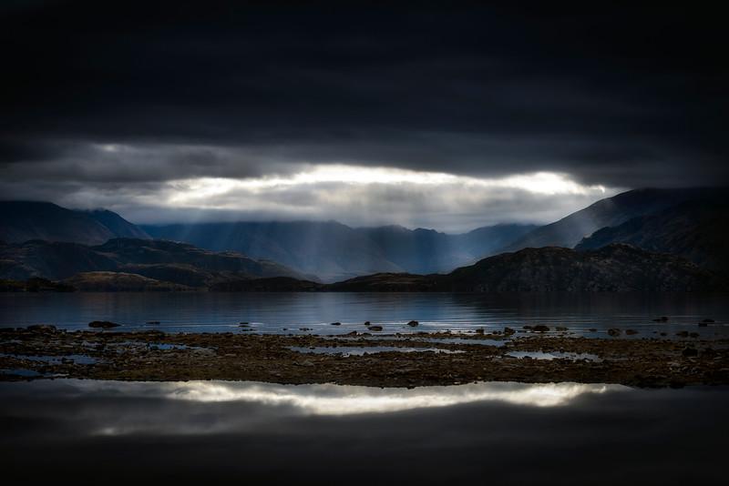Moody sunset in Wanaka, New Zealand