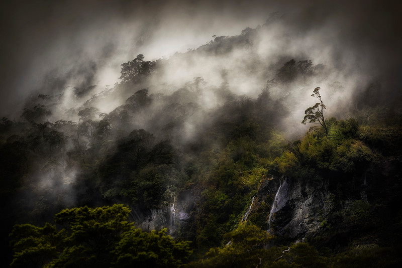 Fog rising after a storm near Milford Sound, Fiordland, New Zealand