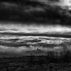 Storms loom over the Central Otago landscape, Alexandra, New Zealand.