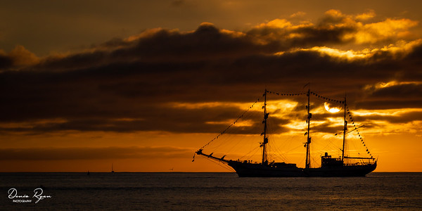 Sailing the Pacific Ocean at Sunset