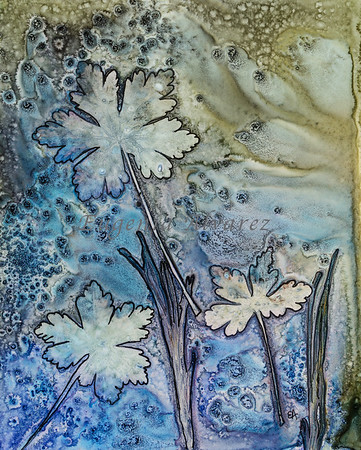 Blue leaves - Watercolor