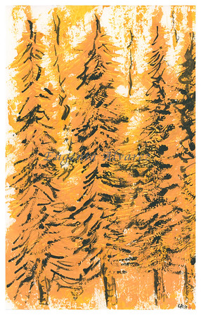 Yellow Abstract Forest Original Watercolor Painting Art Print from Watercolor Painting Abstract Landscape Art Print Watercolor Wall Art