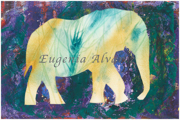 Abstract Elephant Original Watercolor Painting Art Print from Watercolor Painting Abstract Art Print Watercolor Wall Art