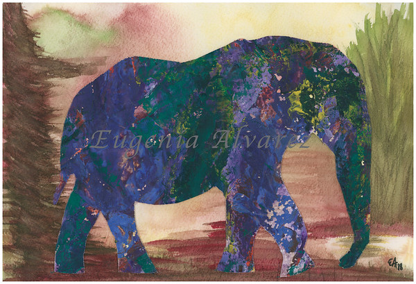 Colorful Elephant Original Watercolor Painting Art Print from Watercolor Painting Abstract Art Print Watercolor Wall Art