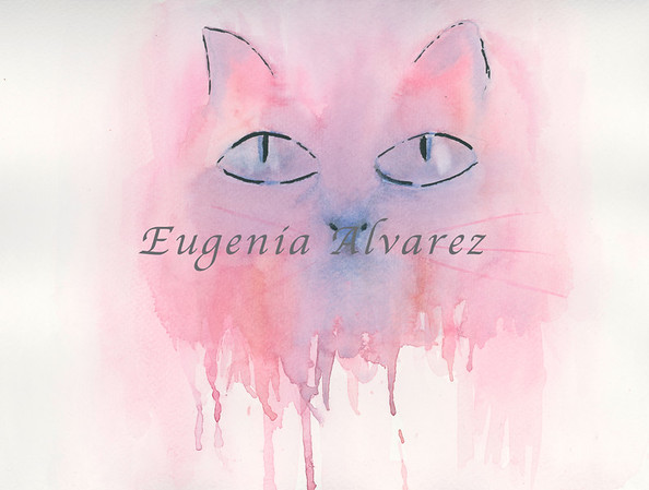 Pink cat -  Watercolor