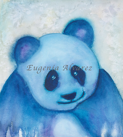 Blue Panda Watercolor