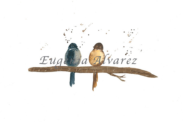 Gray and Brown Birds Watercolor Painting Art Print Fine Art Print from Watercolor Painting Bird Print Painting Art Minimalist Wall Artv