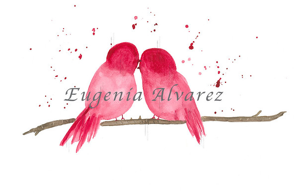 Red Love Bird sWatercolor Painting Art Print Fine Art Print from Watercolor Painting Bird Print Painting Art Minimalist Wall Art