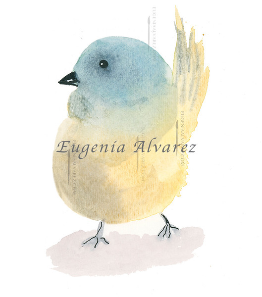 Blue and Yellow Bird Watercolor Painting Art Print Fine Art Print from Watercolor Painting Bird Print Painting Art Minimalist Wall Art