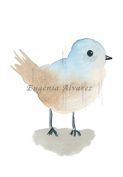 Blue and Brown Bird Watercolor Painting Art Print Fine Art Print from Watercolor Painting Bird Print Painting Art Minimalist Wall Art