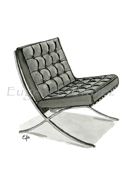 Barcelona Chair. Painting Art Print Furniture Art Print Fine Art Print from Watercolor Painting Famous Chair  Art Print Mies van der Rohe Watercolor Wall Art