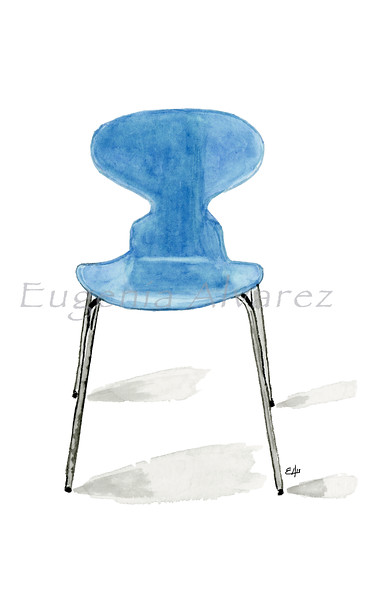 Ant Chair. Painting Art Print Furniture Art Print Fine Art Print from Watercolor Painting Famous Chair  Art Print Arne Jacobsen Watercolor Wall Art