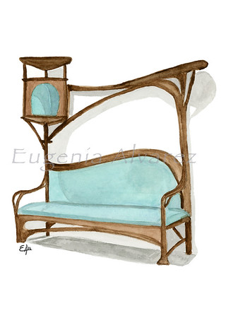 Bench for a Smoking Parlour. Painting Art Print. Furniture Art Print Fine Art Print from Watercolor Painting Art Nouveau  Art Print Hector Guimard Watercolor Wall Art