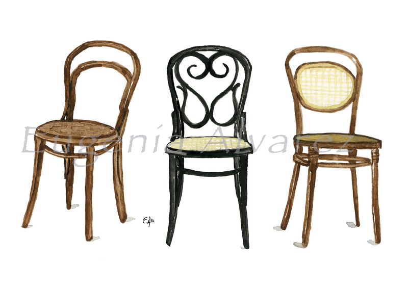 Thonet Chairs . Painting Art Print Furniture Art Print Fine Art Print from Watercolor Painting Arts and Crafts Art Print Michael Thonet Watercolor Wall Art